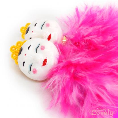 かすおのふわふわピアス ピンク