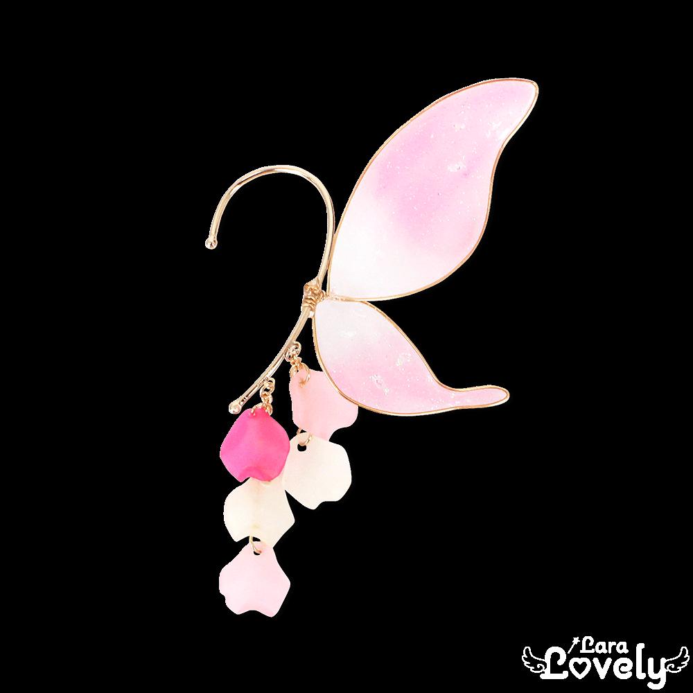 妖精の羽根イヤーフック ピンク
