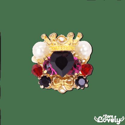 Heart bijou tiara ring(black)