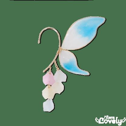 妖精の羽根イヤーフック ブルー