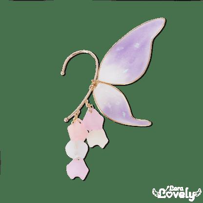 妖精の羽根イヤーフック パープル