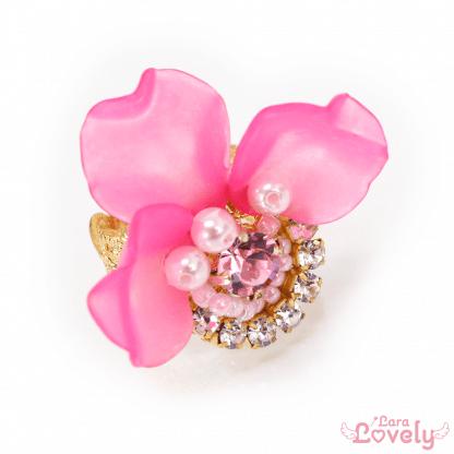 花びらビジューリング ビビッドピンク