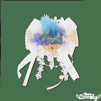 天翔けるペガサスのレーシィブローチ ブルー