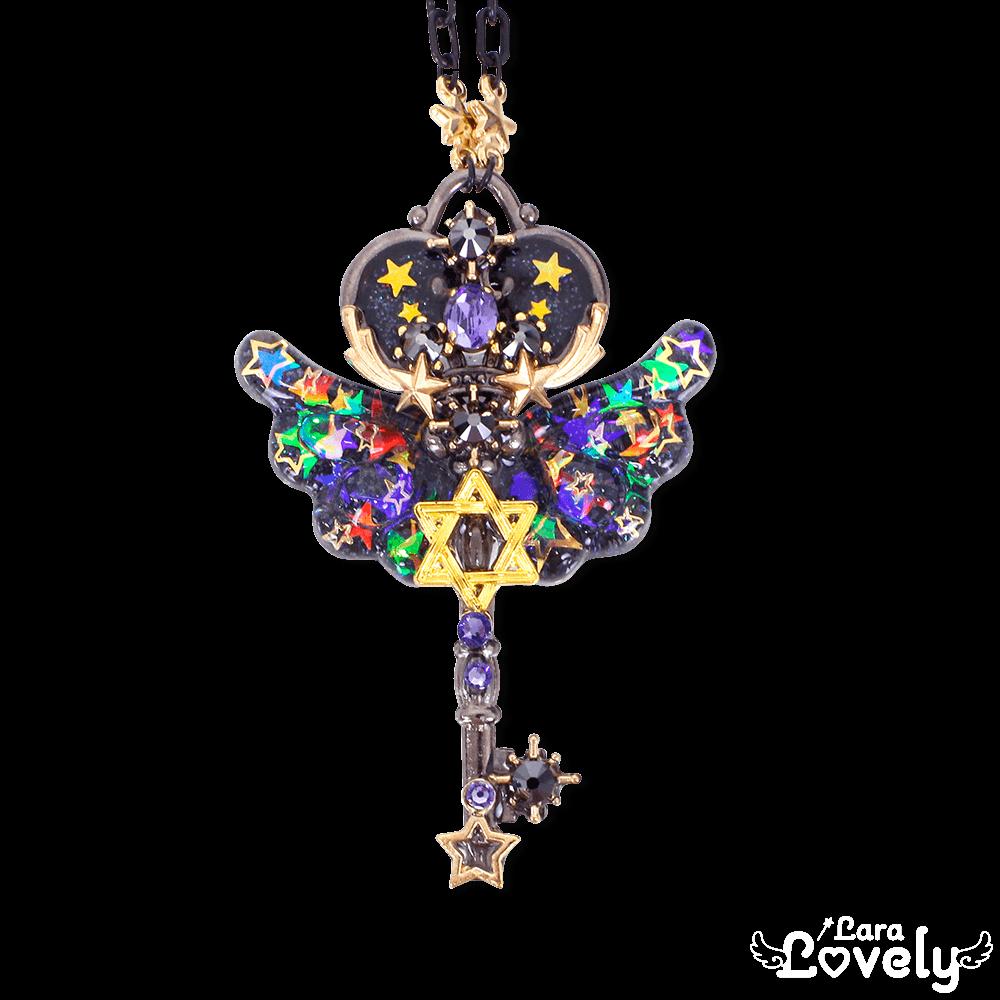 星空の鍵ネックレス(レインボーラメブラック)