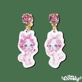 お姫様の耳飾りイヤリング(仲良しうさぎのホイップちゃん柄)
