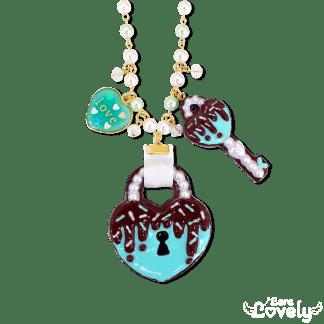 ハート南京錠クッキーのネックレス(チョコミント)