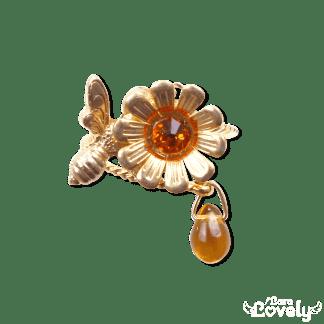 お花とみつばちのリング(タンジェリン)