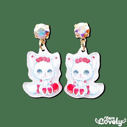 お姫様の耳飾りピアス(白猫リミィちゃんさくらんぼ柄)