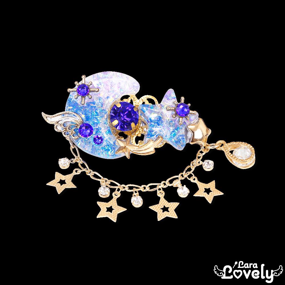 月星ヘアクリップ(パープル×ブルー)