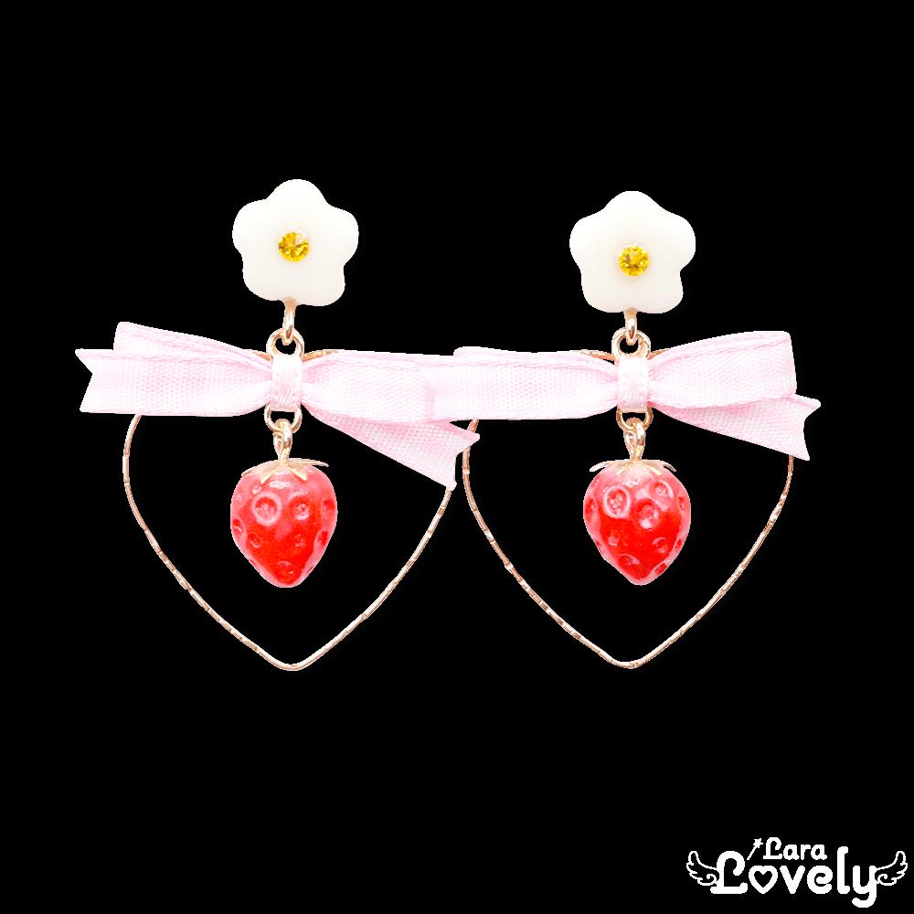 ハートゆらゆらいちごイヤリング(ピンク)