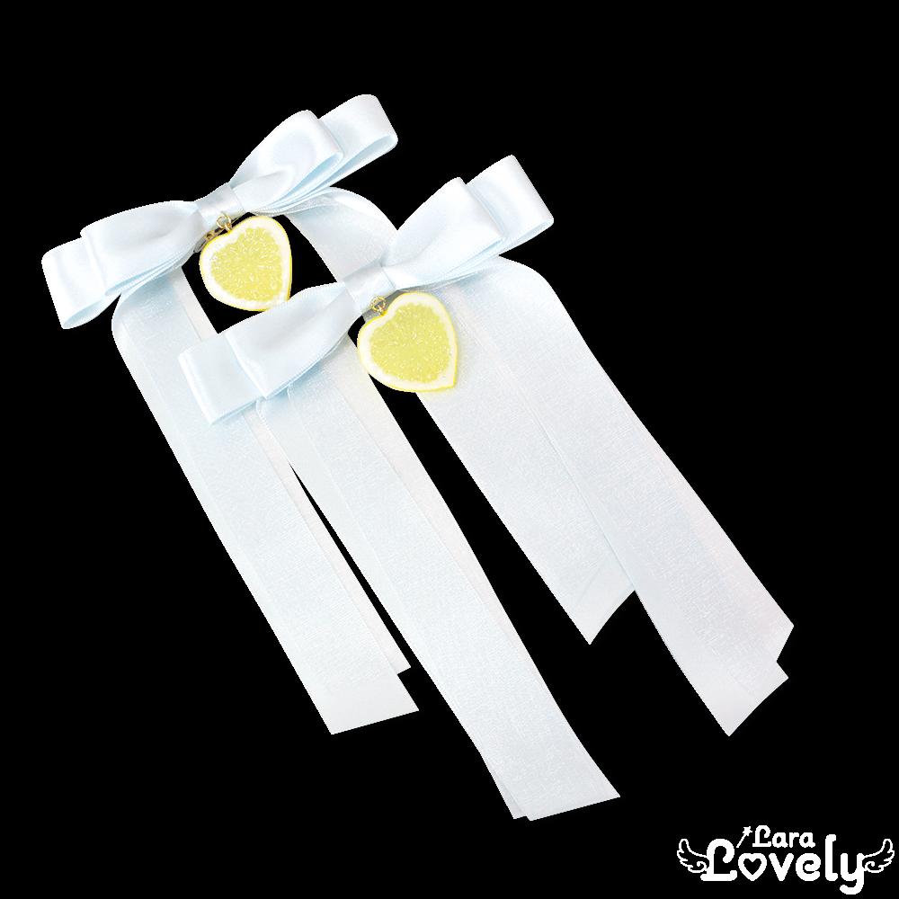 レモンツインテールリボン(サックス)
