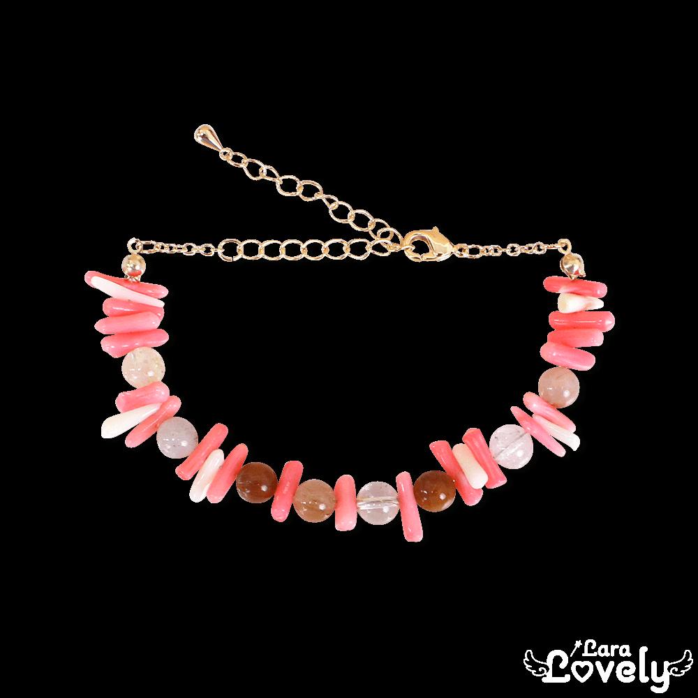 コーラルピンクの珊瑚ブレスレット