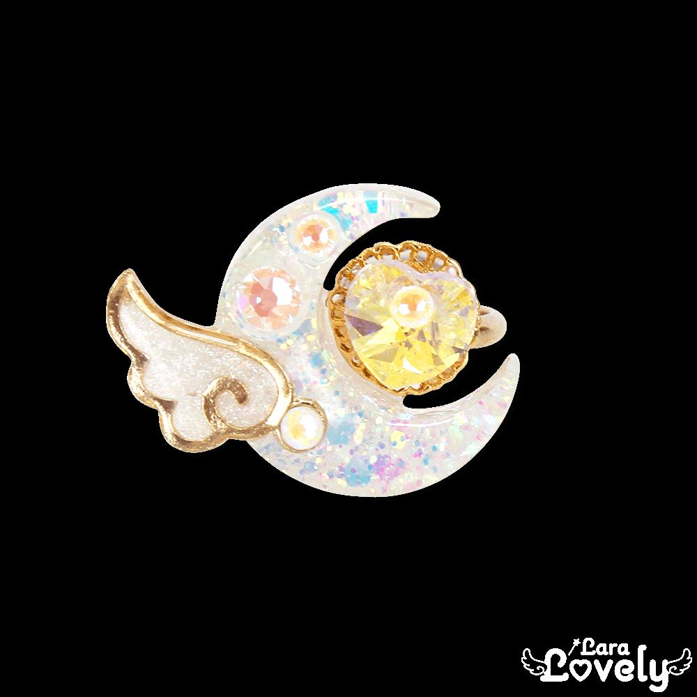 エンジェルクレッセントリング(ホワイト・UV変色ラメ)