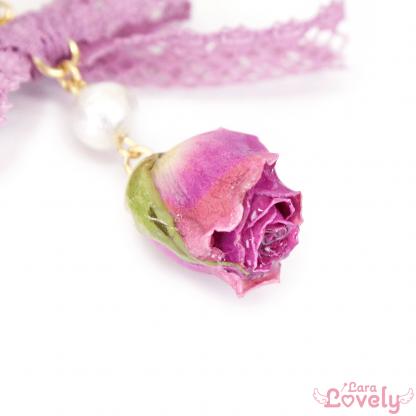 ピンクの薔薇とコットンパールのピアス