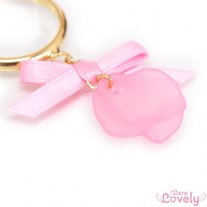 フラワーリボンイヤリング(ピンク)