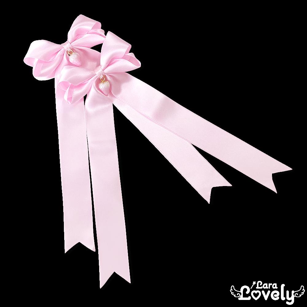 ぷっくりおりぼんヘアクリップ(ロングりぼんピンク×ピンクいちご)