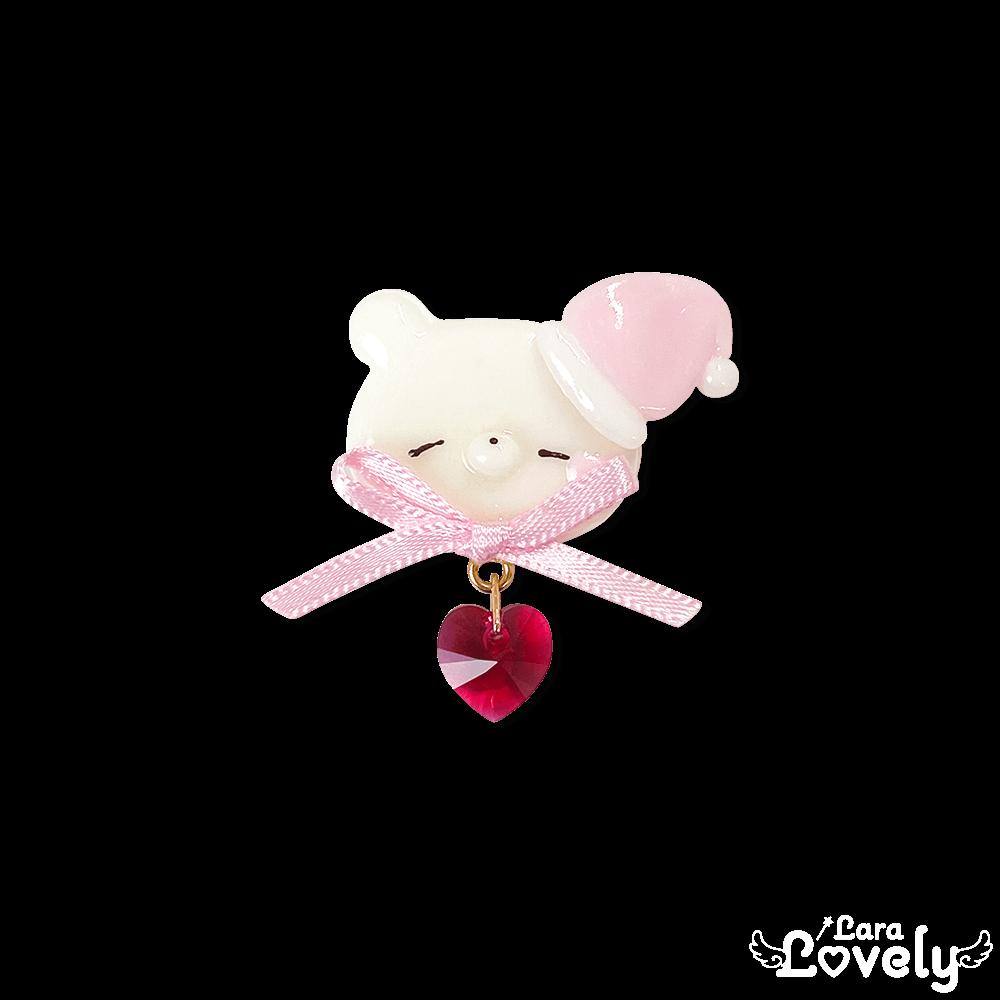 おねむましゅくまブローチ/pink