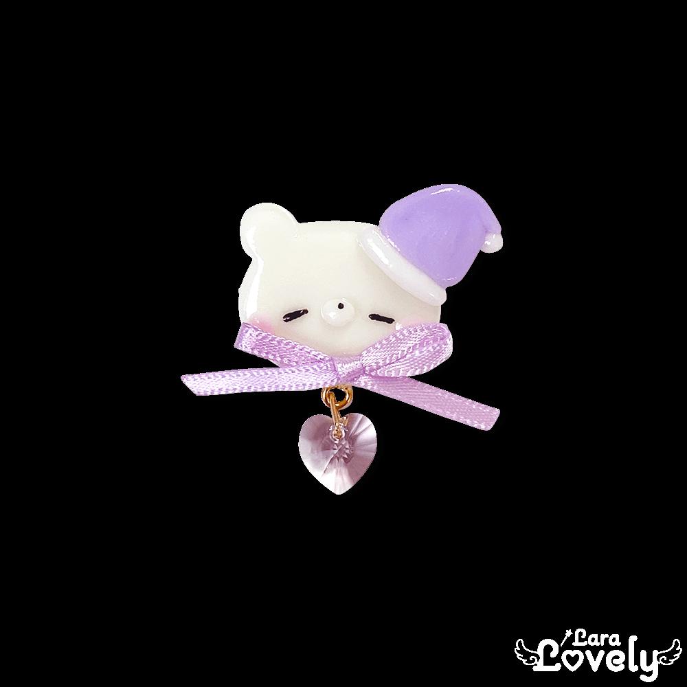おねむましゅくまブローチ/purple