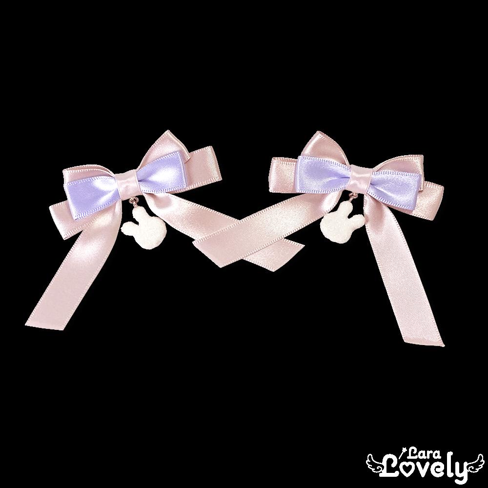 うさちゃんみつあみリボン(ピンク×紫)