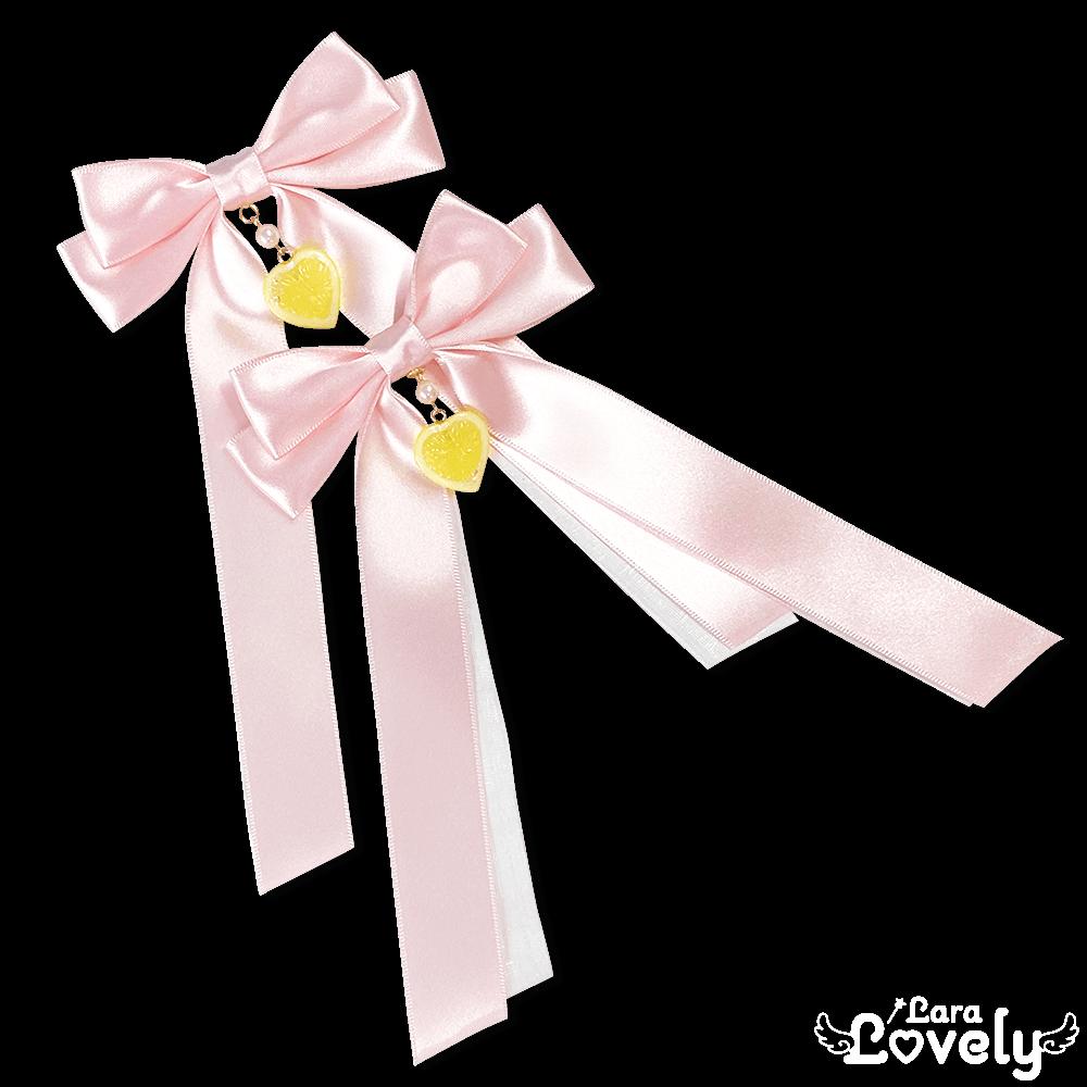 レモンツインテールリボン(ピンク)