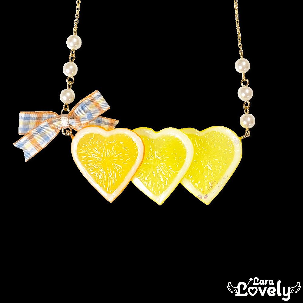 3連レモンネックレス(オレンジ)