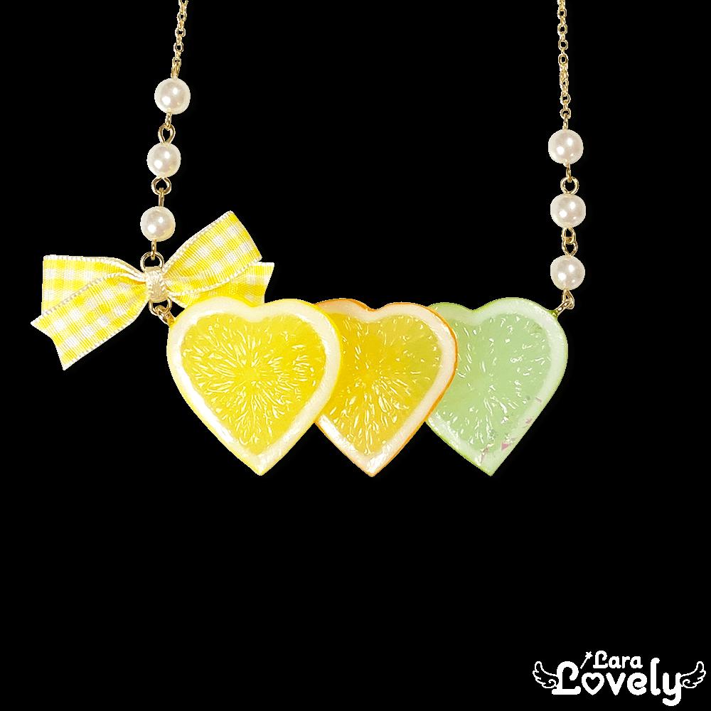 3連レモンネックレス(黄色)