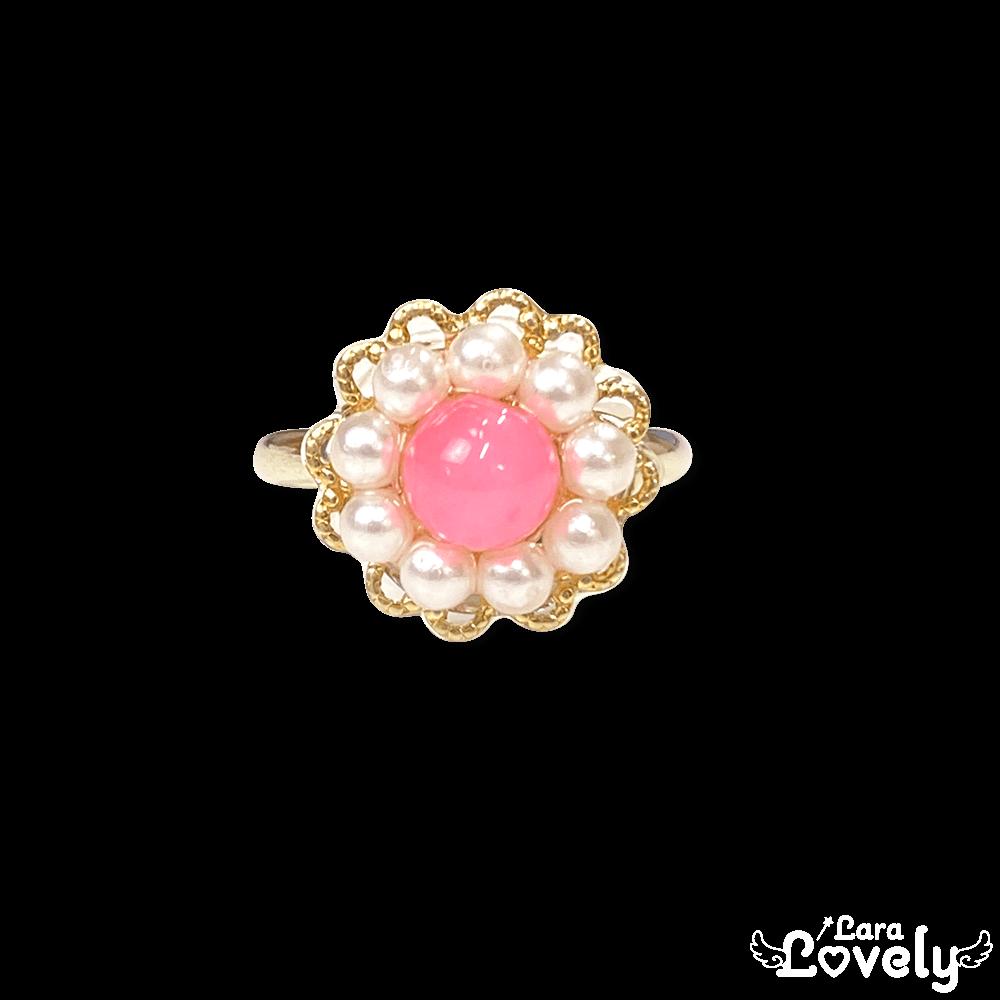 カルセドニーのピンクのお花リング