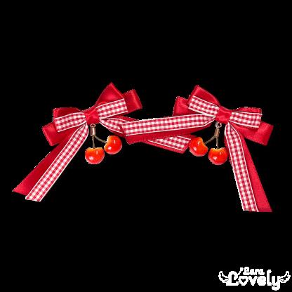 さくらんぼみつあみリボン(赤)