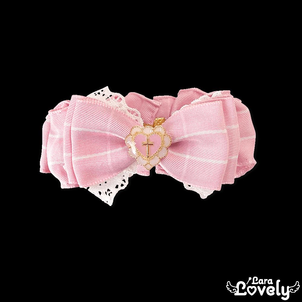 シュシュ風リボンブレスレット(ピンク)