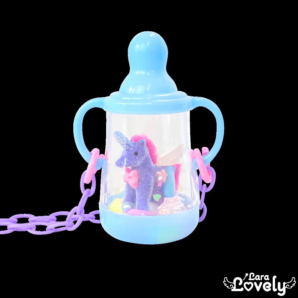 哺乳瓶ネックレス(ブルー&ユニコーン)