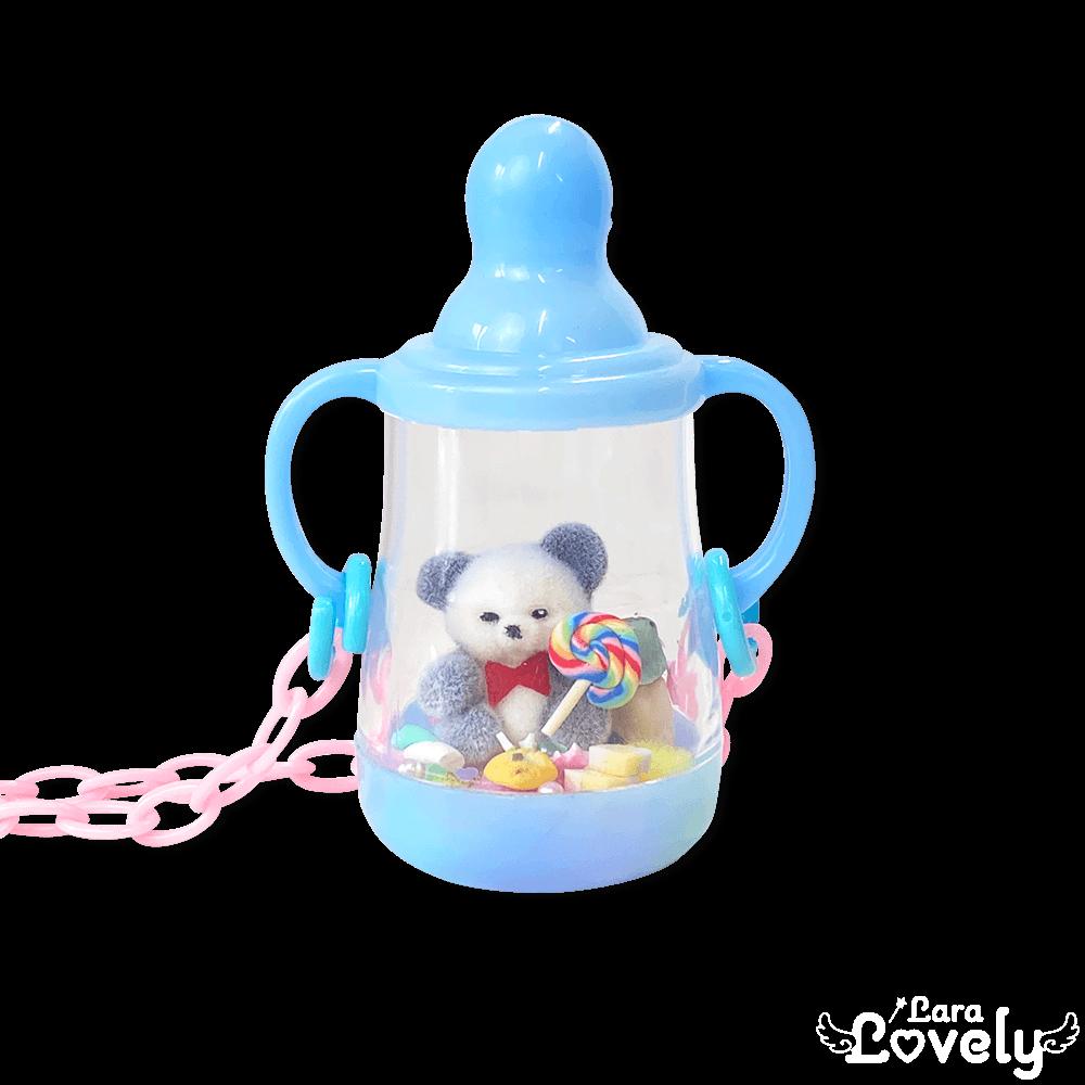 哺乳瓶ネックレス(ブルー&パンダ)
