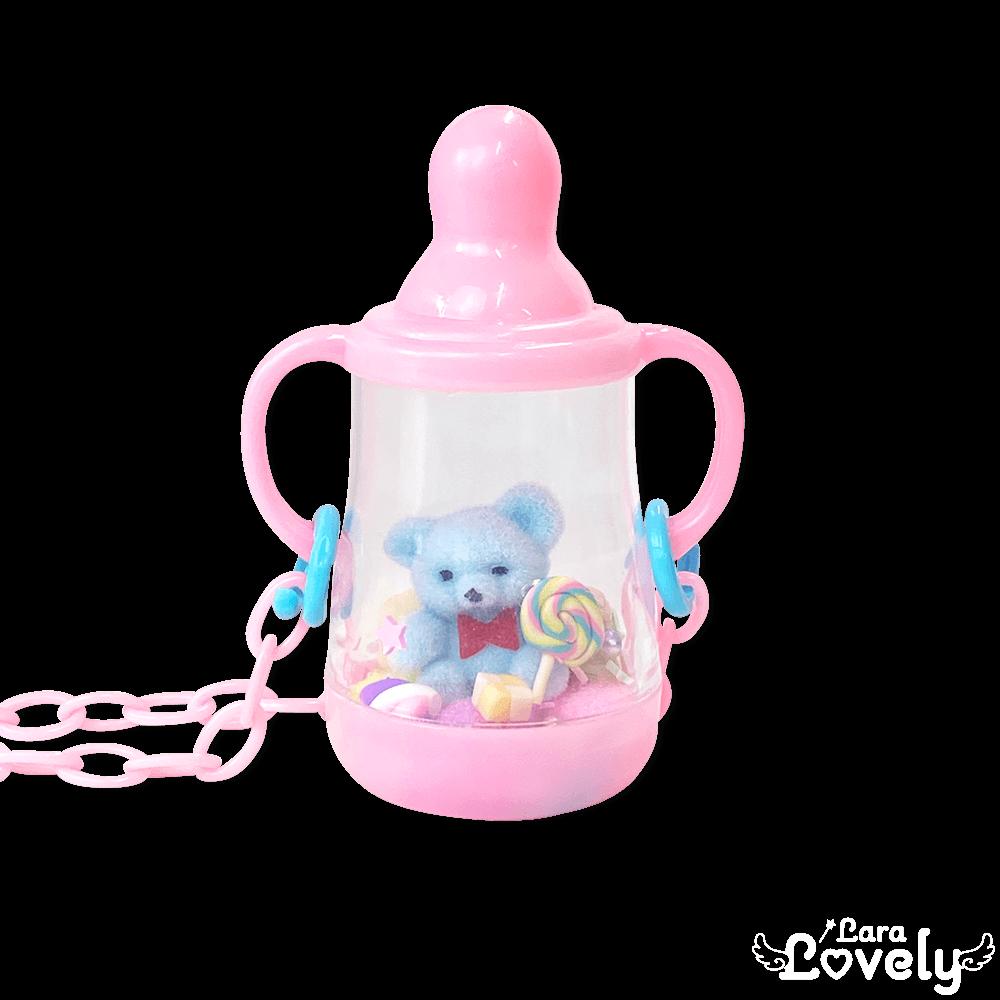 哺乳瓶ネックレス(ピンク&くま)