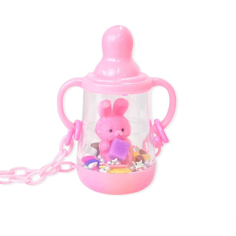 哺乳瓶ネックレス(ピンク&ピンクうさぎ)