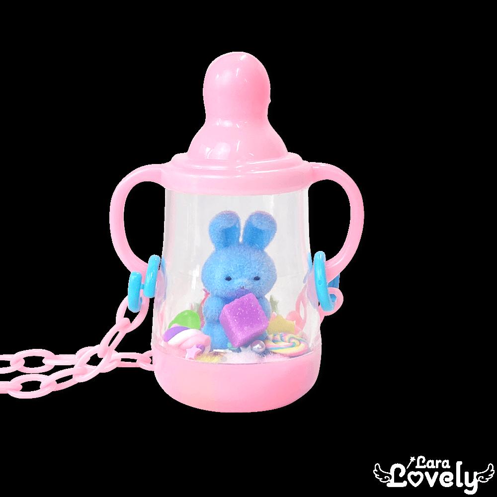 哺乳瓶ネックレス(ピンク&ブルーうさぎ)