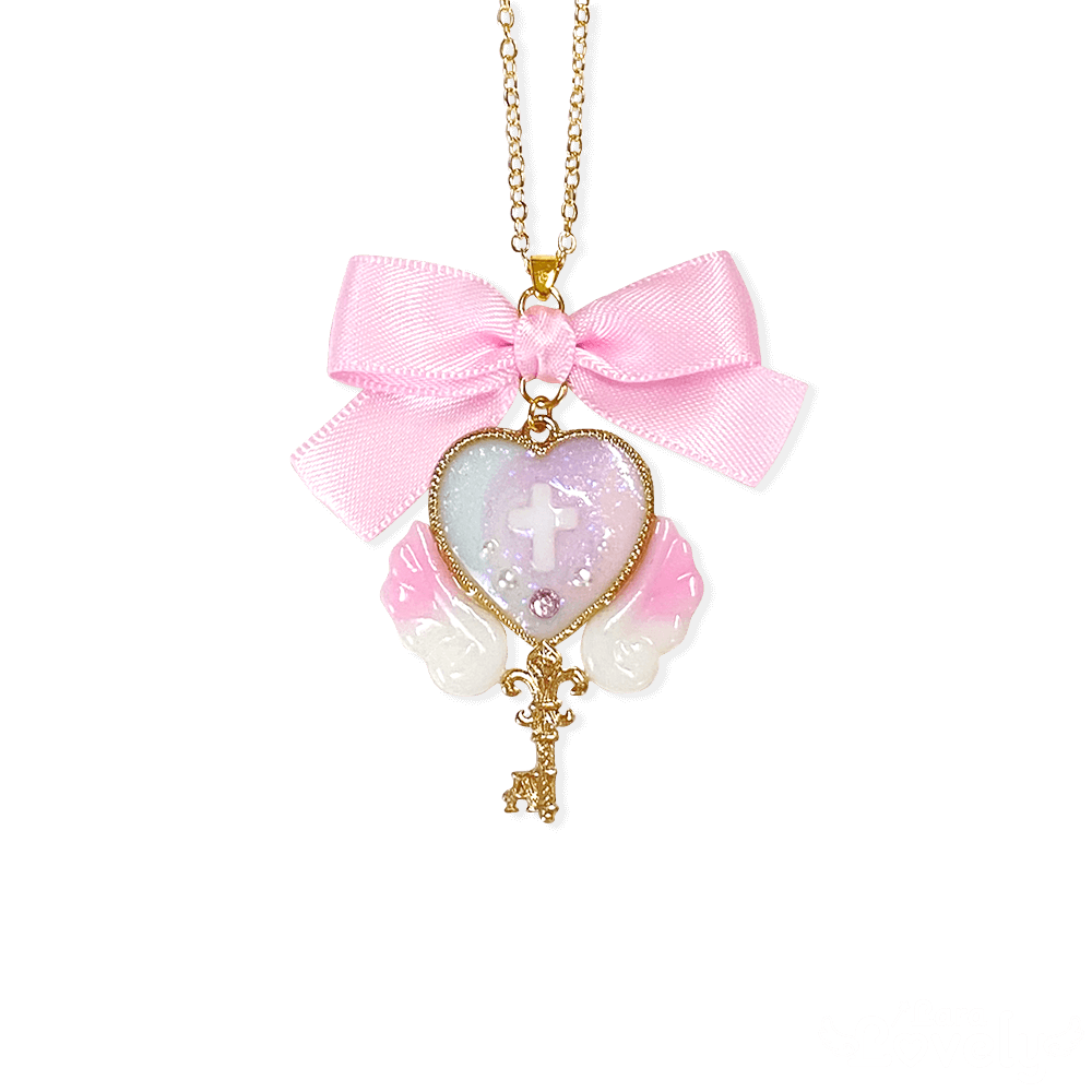ミルキーマーブル×魔法の鍵ネックレス(pink)