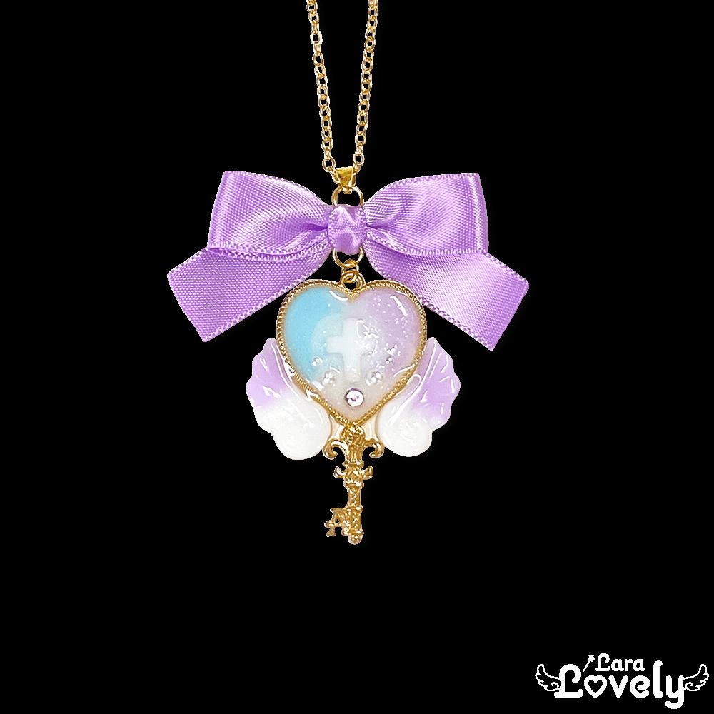 ミルキーマーブル×魔法の鍵ネックレス(purple)