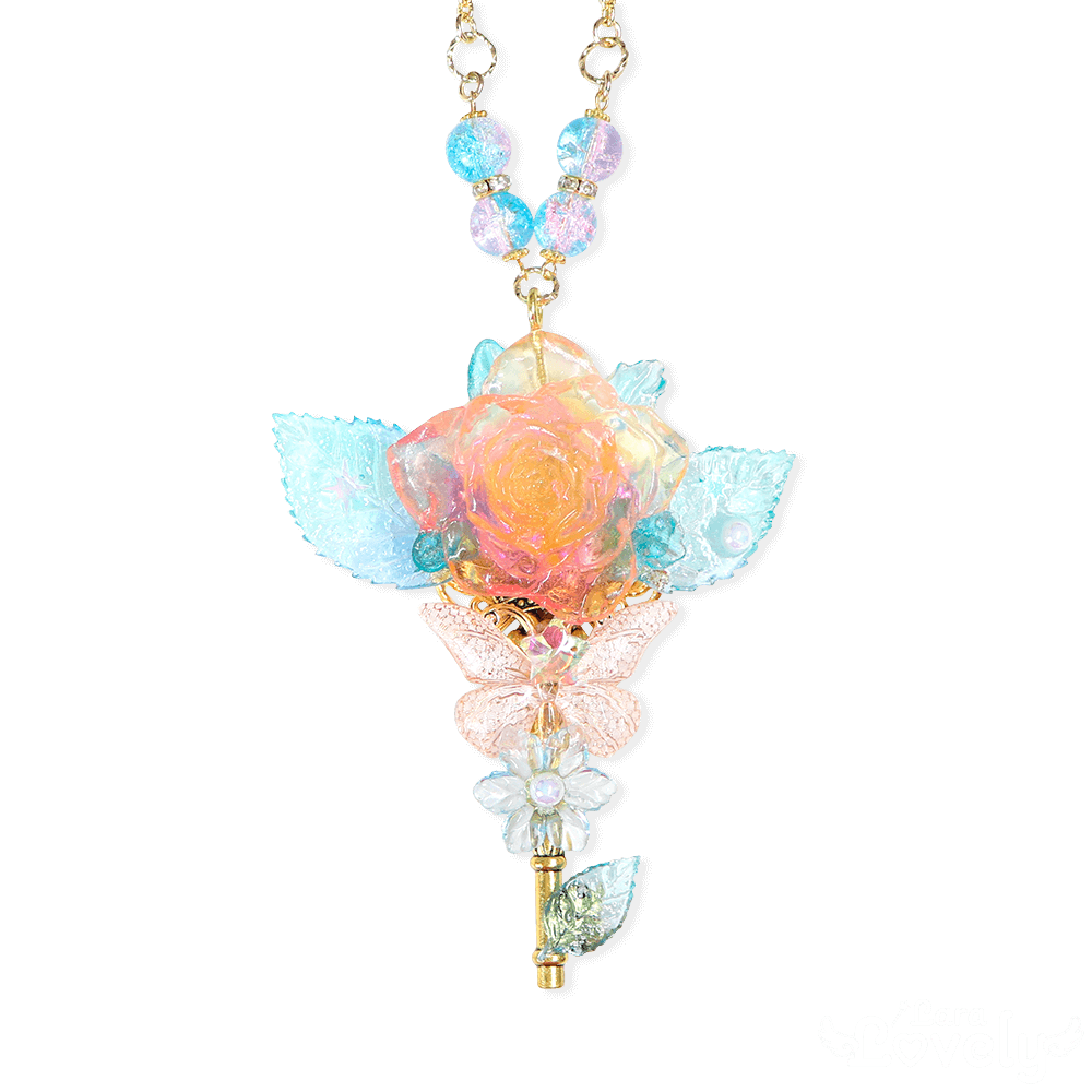 【2021SS】薔薇と蝶々のキラキラネックレス