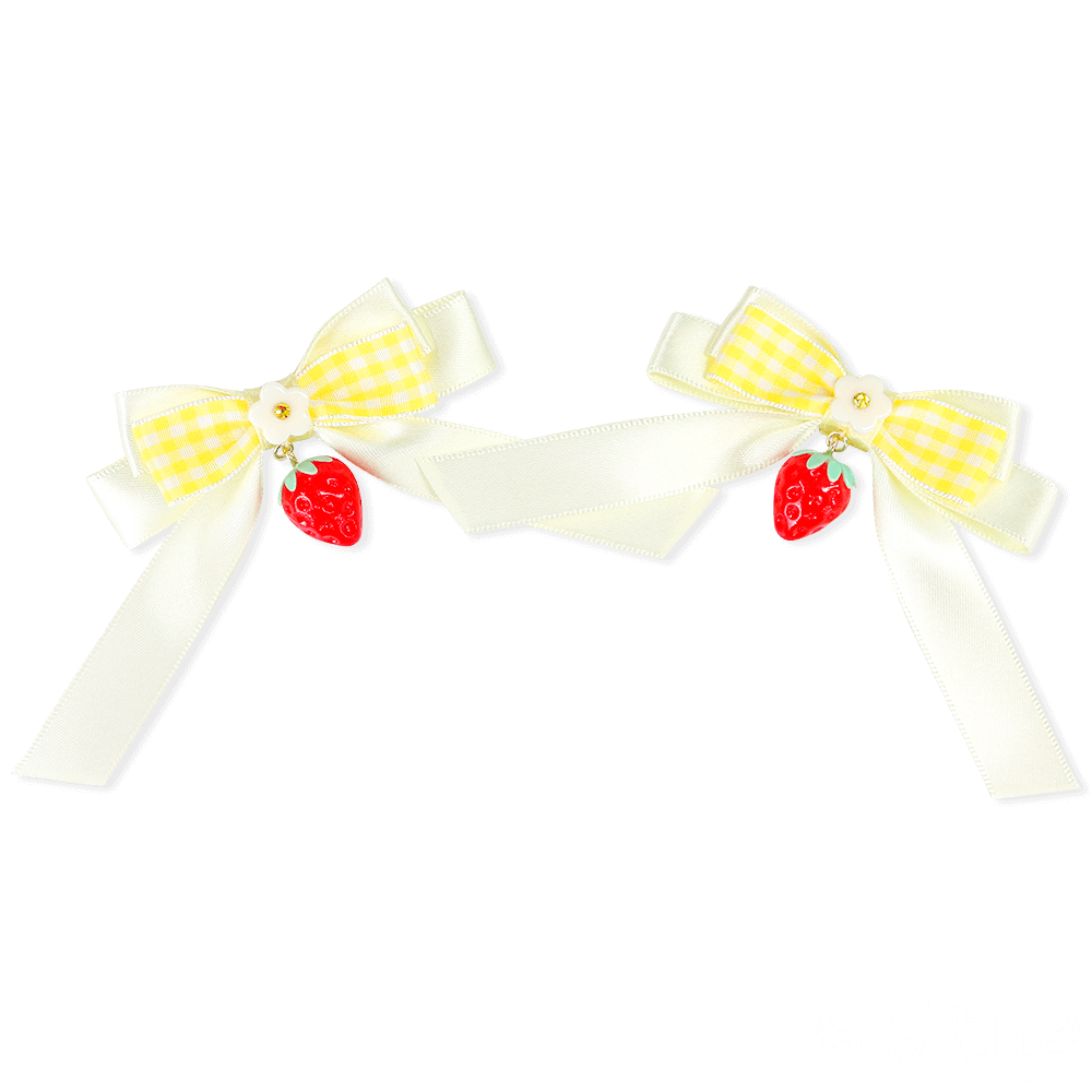 いちごみつあみリボン(黄色)